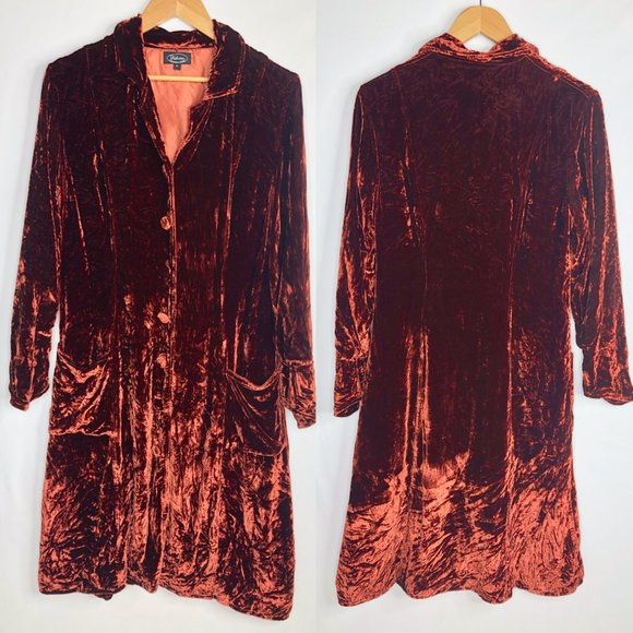 Shihreen Stunning Copper Orange Velvet Jacket